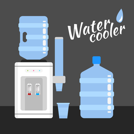 Water cooler. Refreshment and bottle office, plastic and liquid Illustration