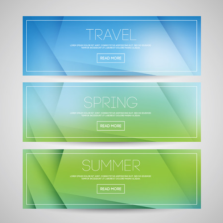 Vector blurred banners set templates with abstract text. For web and print. Ilustração