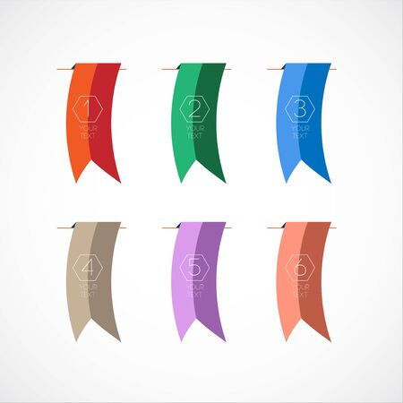 Vector Set of Colorful bookmark or Flags with text and number. Template for designn flyers and cards Vector
