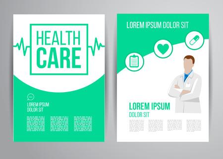 egészségügyi ellátás: Vector health care brochure for clinic with doctors. Medical flyer design.