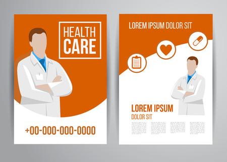 医師による診療のベクトル医療パンフレット。医療のフライヤー デザイン。