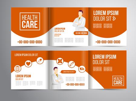 ヘルスケア: 医師による診療のベクトル医療パンフレット。医療のフライヤー デザイン。