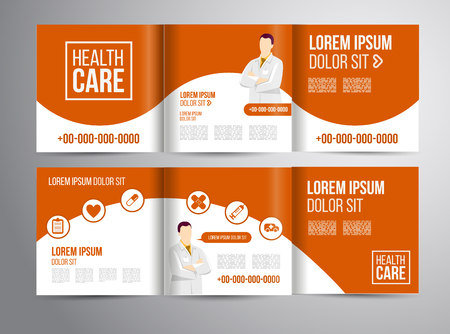 health care: Vector health care brochure for clinic with doctors. Medical flyer design.