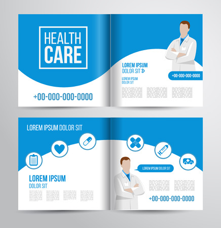 Vector health care brochure for clinic with doctors. Medical flyer design.