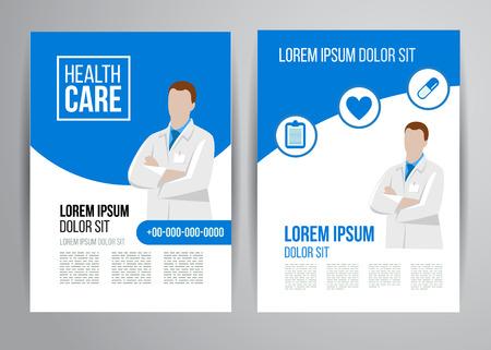 egészségügyi ellátás: Vector egészségügyi brosúrát klinikán az orvosok. Orvosi szórólap tervezés.