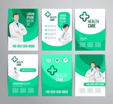 Vector folleto de atención médica para la clínica con médicos. Diseño de volante médico. Foto de archivo - 40486900