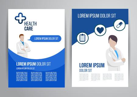 Vector gezondheidszorg brochure kliniek met artsen. Medisch flyer design.