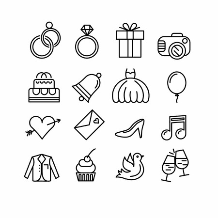 thumbnail: Wedding icons set. Outline style. Elements for print, mobile and web applications.