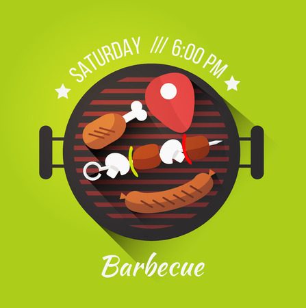 Vector set of barbecue and grilled food: steak, sausage, chicken, vegetables.  イラスト・ベクター素材