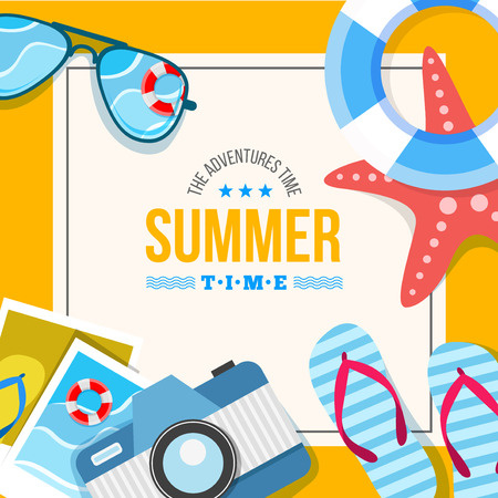 Vector summertime traveling illustration. Card with summer accessories, star, camera, flip flop, photo and other Ilustração