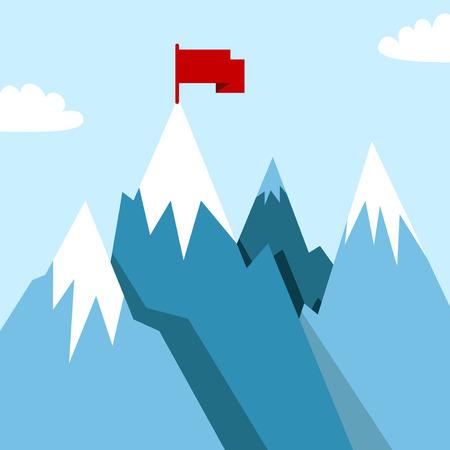 steep: Mountain landscape with winner flag. Illustration in flat style for winter resort Illustration
