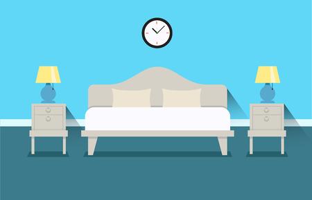 ベッドルーム インテリア デザイン イラスト。ベッドサイド テーブルとナイトライト付きベッドします。寝室や、アパートのインテリア。ホテルの