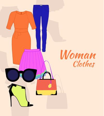 여성 의류 드레스, 안경, 스타킹, 가방 및 기타 설정합니다.