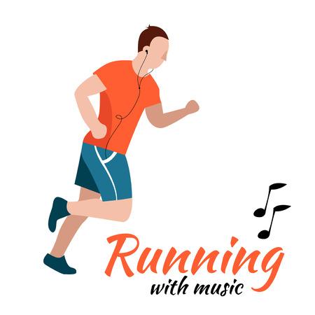 fatso: Running man with headphones. Vector illustration Illustration