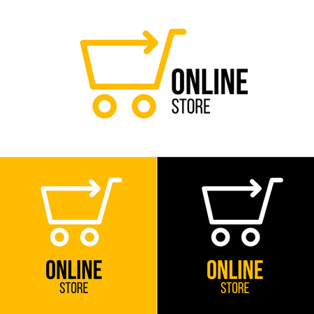 Online shop vector logo. For business. Çizim