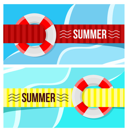 life guard: Lifebuoy on the water. Flat style vector illustration Illustration