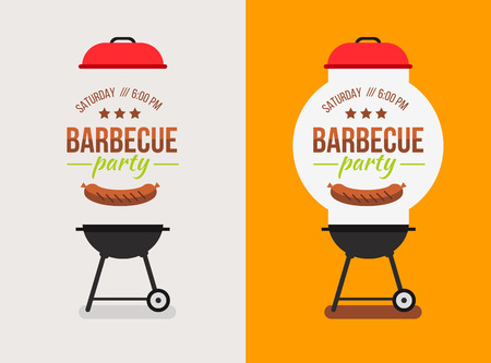 steak grill: Bbq or barbecue party invitation. Vector illustration.