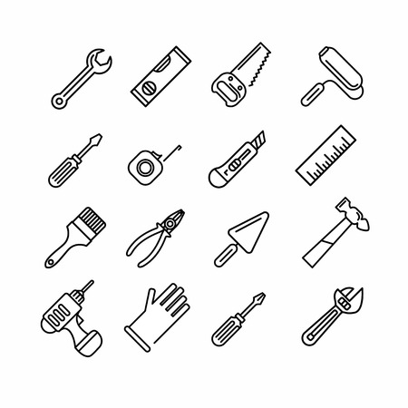 Tools icons set. Outline style. Elements for print, mobile and web applications. Illustration