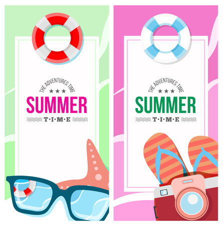 Summertime invite card concept with summer accessories, star, camera, flip flop, photo and other