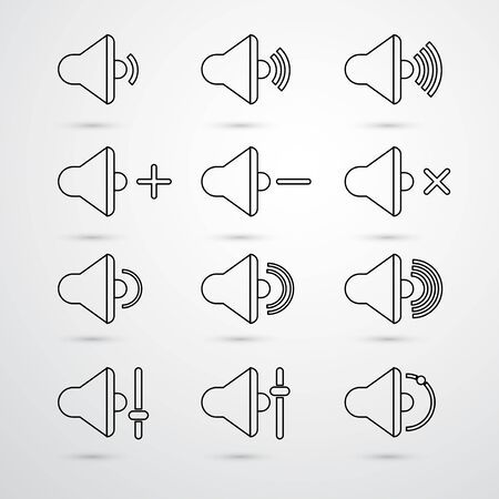 quieter: Vector Speaker icons for app set. Volume and sound, audio and loudspeaker, music, and voice. outline style.