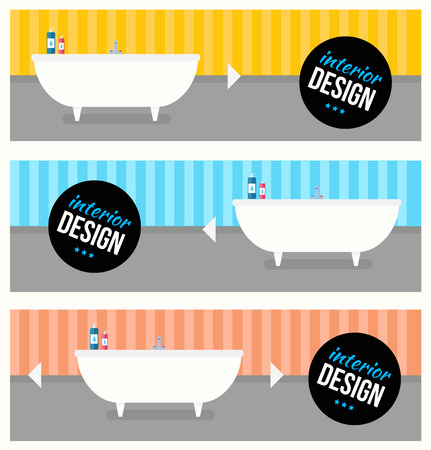 bath room: Bathroom interior design with sink and shampoo. Modern flat design illustration concept. Illustration