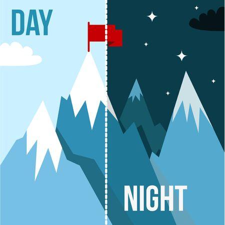 supremacy: Mountain landscape with winner flag. Illustration in flat style for winter resort Illustration