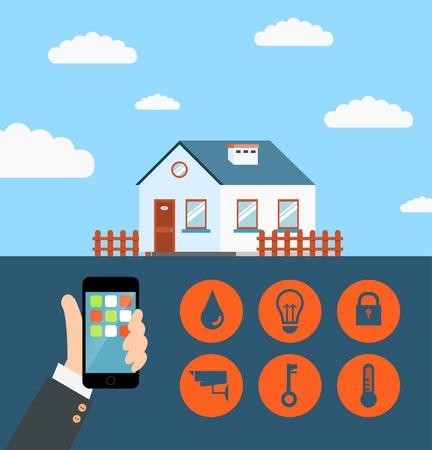 Vector concepto de casa inteligente o un sistema de tecnología de casa inteligente con control centralizado de iluminación, calefacción, ventilación y aire acondicionado, seguridad y videovigilancia Foto de archivo - 41900236