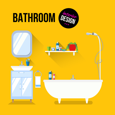 bath tub: Bathroom interior design with sink and shampoo. Modern flat design illustration concept. Illustration