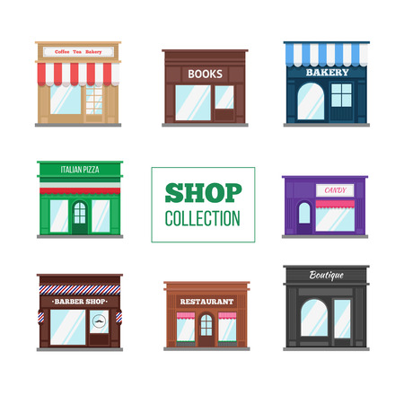 Flat shops and stores collection. Books store, boutique, bakery, candy shop, coffee shop, restaurant, barber shop and other.