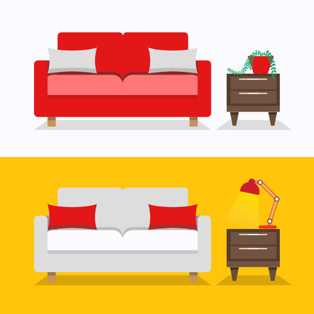 night table: Living room with sofa interior design illustration. Sofa with table and night lamp.