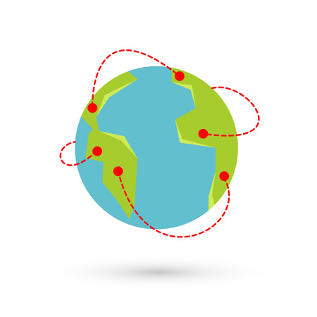 Vector earth travel illustration. Around the world travelling by plane, airplane trip in various country, travel pin location on a global map.