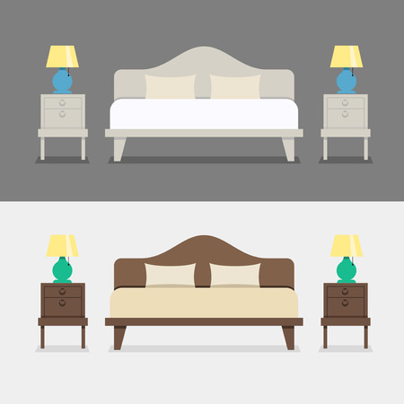 bedroom: Bedroom interior design illustration. Bed with bedside tables and night lamps. The interior of the bedroom or the apartment. Bedroom at the hotel.