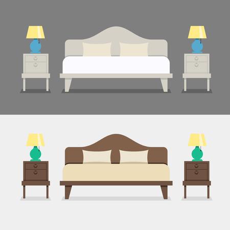 chambre à coucher: Bedroom interior design illustration. Lit avec tables de chevet et lampes de chevet. L'intérieur de la chambre ou de l'appartement. Chambre à l'hôtel. Illustration