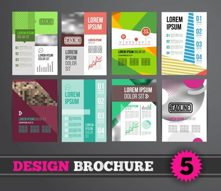 Vector design brochure template for business flyer or presentation. Trend design mega set.