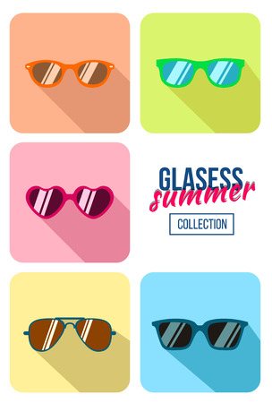 wayfarer: Hipster sunglasses set. Flat glasses illustration