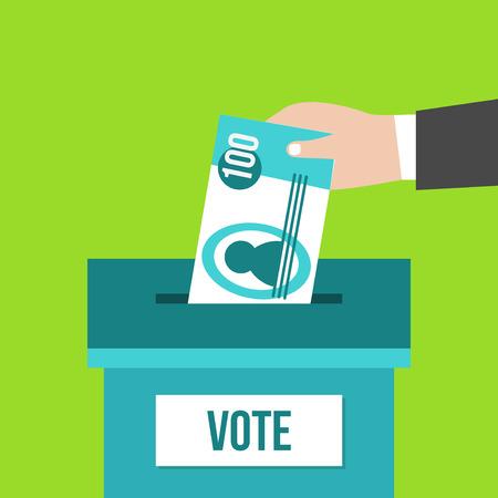 bestechung: Voting-Konzept in flacher Bauform. Hand, die Papiergeld in die Wahlurne. orruption Illustration