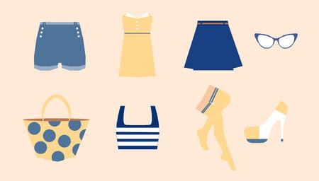 Ropa de mujer con vestido ajustado, vasos, medias, bolsa y otros. Foto de archivo - 41898934