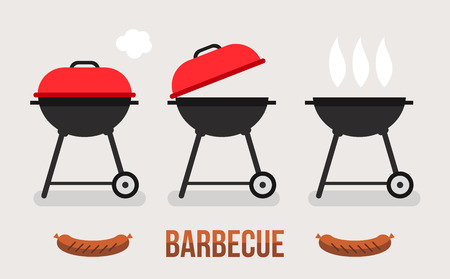 Vector set of barbecue and grill Çizim