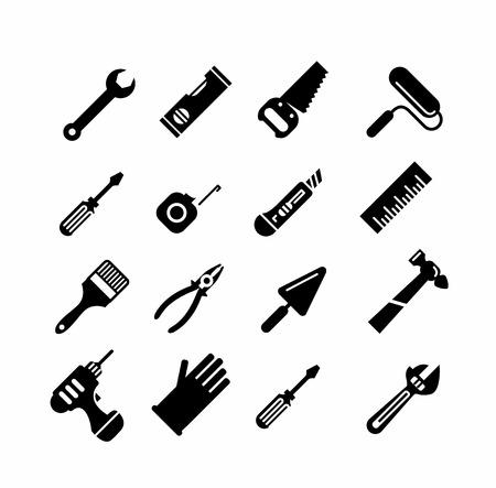 herramientas de trabajo: Herramientas iconos conjunto. Estilo de esquema. Elementos para aplicaciones de impresión, móviles y web.