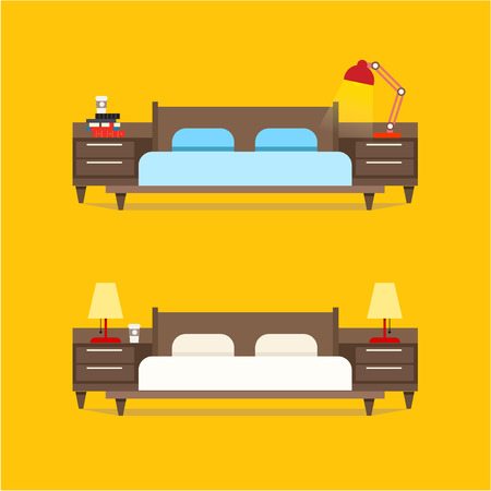 bedside: Bedroom interior design illustration. Bed with bedside tables and night lamps. The interior of the bedroom or the apartment. Bedroom at the hotel.