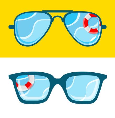 wayfarer: Sunglasses with sea concept. Summertime illustration.