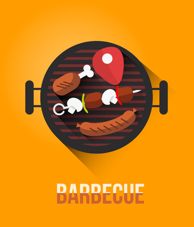 Vector set of barbecue and grilled food: steak, sausage, chicken, vegetables. Çizim