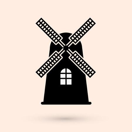 Windmill silhouette of teken op een witte achtergrond. Molen symbool. Vector illustratie.