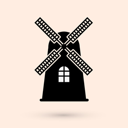Windmill silhouette or sign isolated on white background. Mill symbol. Vector illustration. Ilustração
