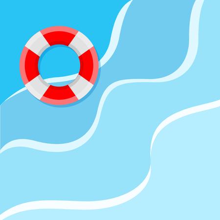 Lifebuoy on the water. Flat style vector illustration Illustration