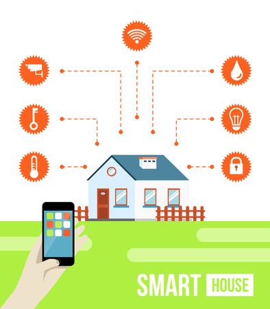 smart phone hand: Vector concept of smart house or smart home technology system with centralized control of lighting, heating, ventilation and air conditioning, security and video surveillance Illustration