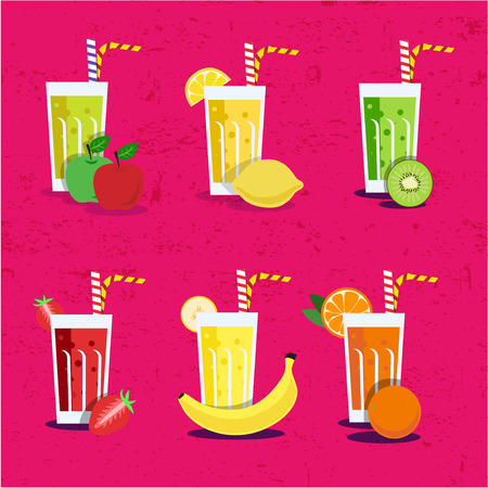 fresh juice: Smoothie set with fruits. Menu element for cafe or restaurant with energetic fresh drink made in flat style. Fresh juice for healthy life. Organic raw shakes.