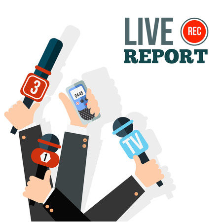 press news: Live report concept, live news, hot news, news report, hands of journalists with microphones and digital recorders