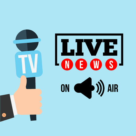 hot news: Live report concept, live news, hot news, news report, hands of journalists with microphones and digital recorders