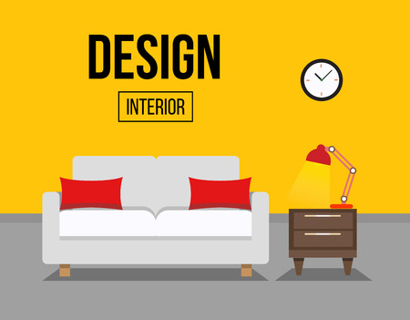 living room furniture: Living room with sofa interior design illustration. Sofa with table and night lamp.